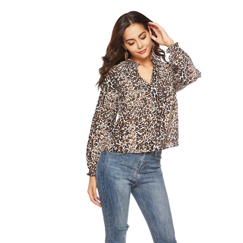 Otoño Leopardo Moda Negro Mujeres Mujer Blusa Talla 2018 Grande púrpura Ropa Casual Camisa Sexy amarillo Coreano Tops RRnrqYwE