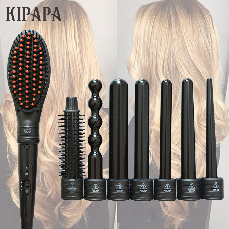 KIPAPA Curling Wand Set 0.35 To 1.25 Inch Travel Ceramic Hair Curler Curling Iron Flat Iron Hair Straightening Brush Comb Choose