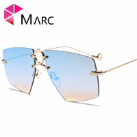 MARC UV400 DONNE Quadrato In Metallo occhiali da sole Gradiente Nastro Guida R