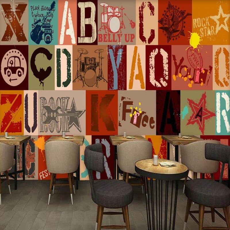 3D photo wallpaper Europe fashion hand painted rock graffiti letter bar KTV background wall mural high quality wallpaper