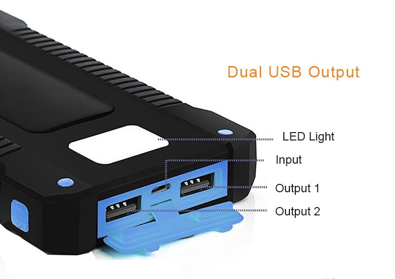 Waterproof Solar 30000mAh Solar Power Bank Charger 2 USB Ports External Charger Powerbank for Xiaomi with LED Light 6
