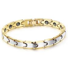 Granny Chic Stainless steel shape power energy health bracelet 4 in 1 magnetic germanium for women 8mm 19cm