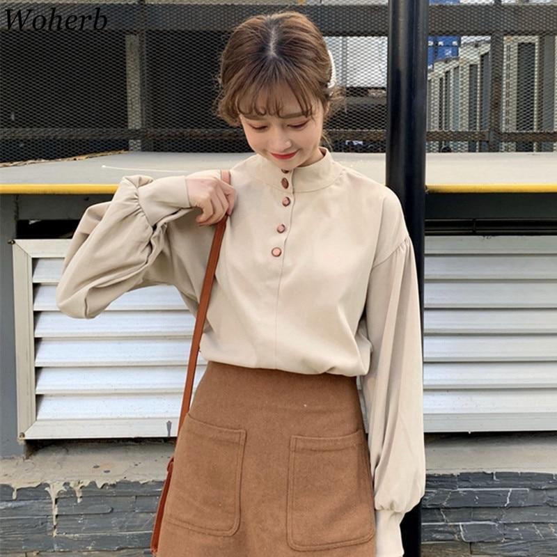 Woherb Summer Korean 2020 Solid Blouse Women Vintage Lantern Sleeve Tops Long Sleeve Shirts Elegant Blusas 21276