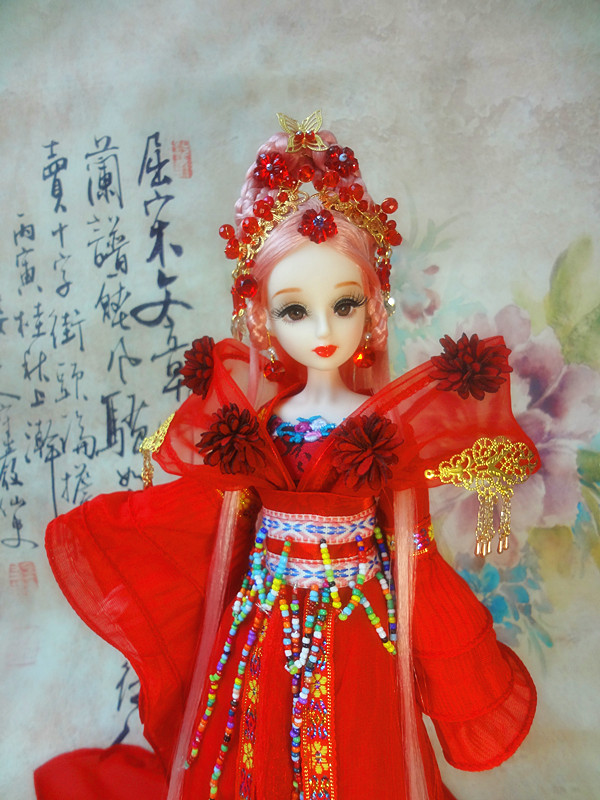 32CM Collectible Chinese Dolls With Stand Handmade Old Fashioned Girl Doll Vintage BJD Doll Toys Christmas Gifts tang dynasty shangguan wan er 12jointed doll 31cm high end handmade chinese costume dolls limited collection bjd 1 6 moveable