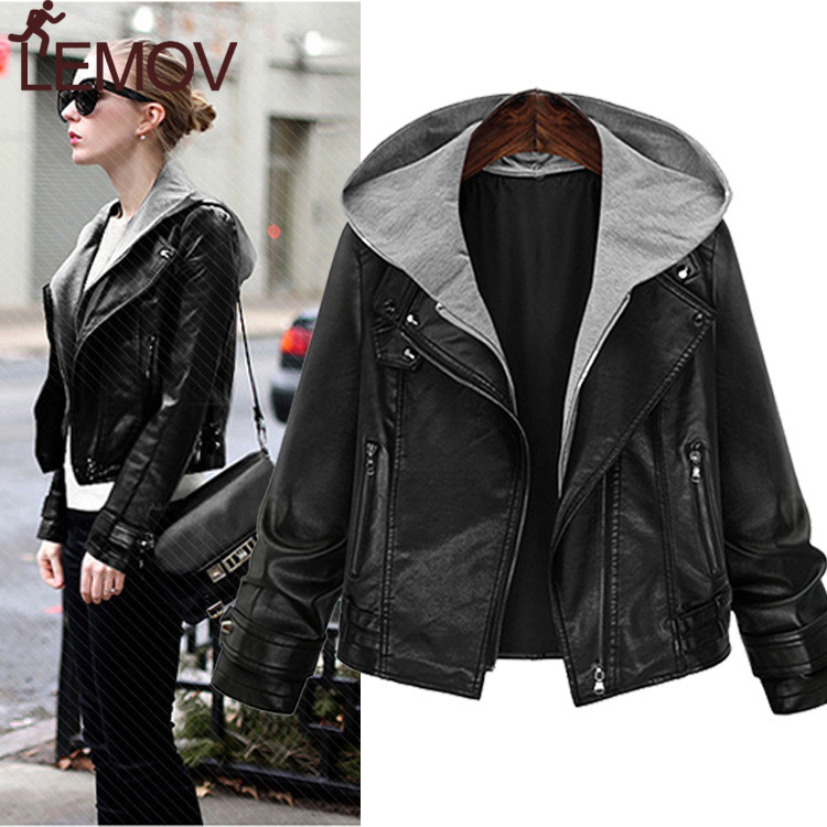 Europe American Women's   Leather   Jacket Large Size Female Thin Hooded Long-sleeved   Leather   Women Short Coat Hot Sale
