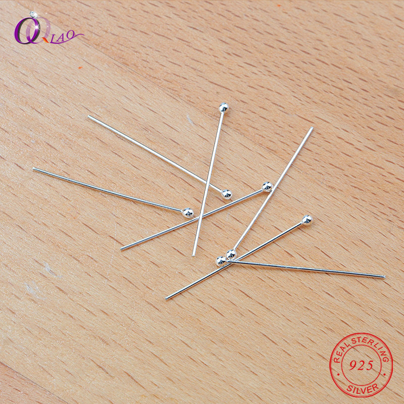 Wholesale 25mm 925 Sterling Silver Ball Head Pins  Diy Jewelry Findings , Bead Making,jewelry Accessories,20pcs/pack