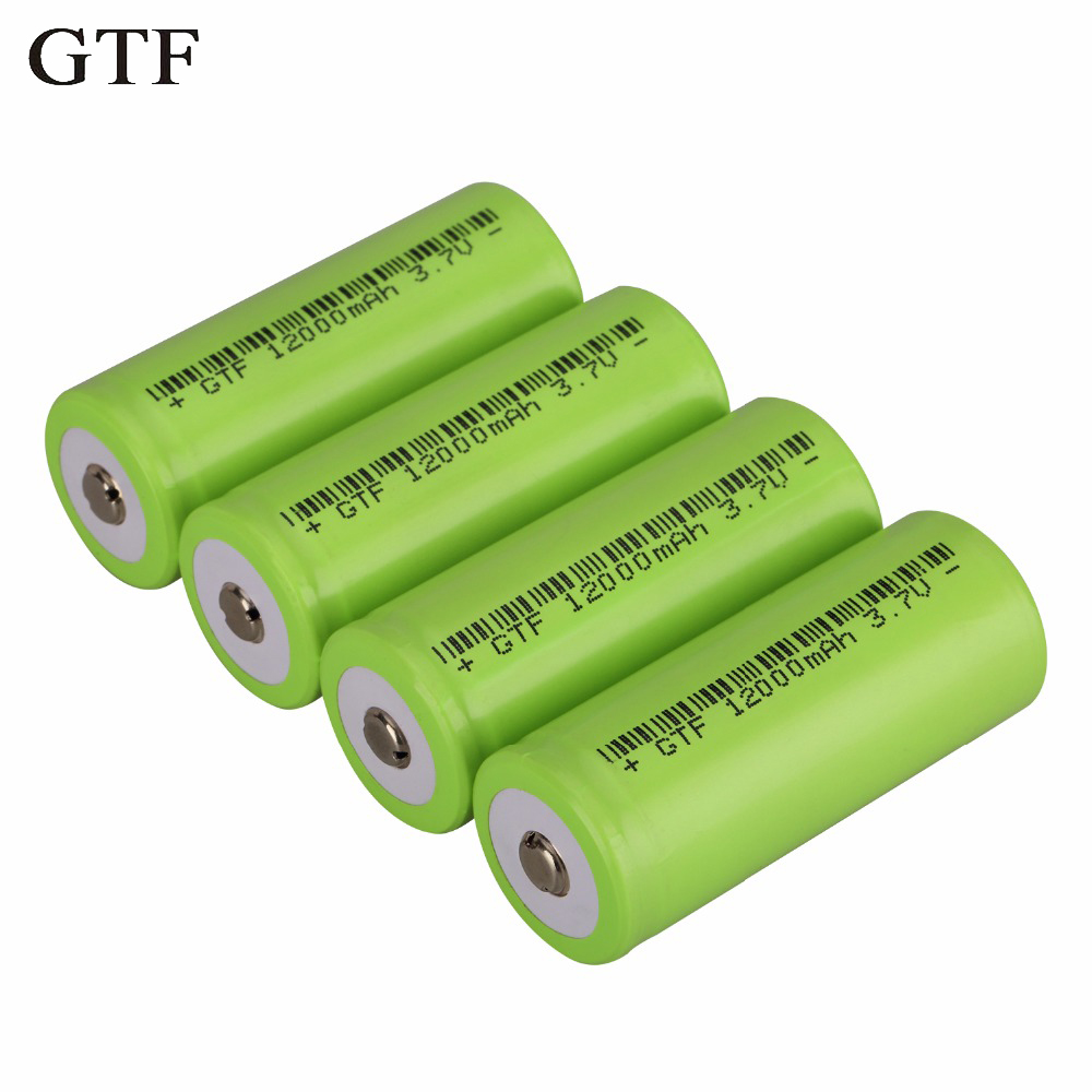 GTF Original 26650 Battery 3.7v 12000mah Rechargeable Li-ion Battery for Flashlight rechargeable Battery accumulator battery no 1 rechargeable battery rechargeable battery battery no 1 battery d rechargeable li ion cell