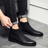 2019 Spring Fashion Leather Men Boots Convenient Zip Pointed Toe Business Dress Boots Shoes Men Black Brown Ankle Boots Men