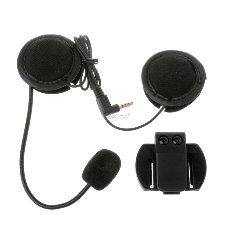 QILEJVS Motorcycle Speaker Headset Microphone and Clip 3.5mm Jack Earphone Plug Stereo For V6 Intercom V4 interphone Sep10 Helmet Headsets     - title=