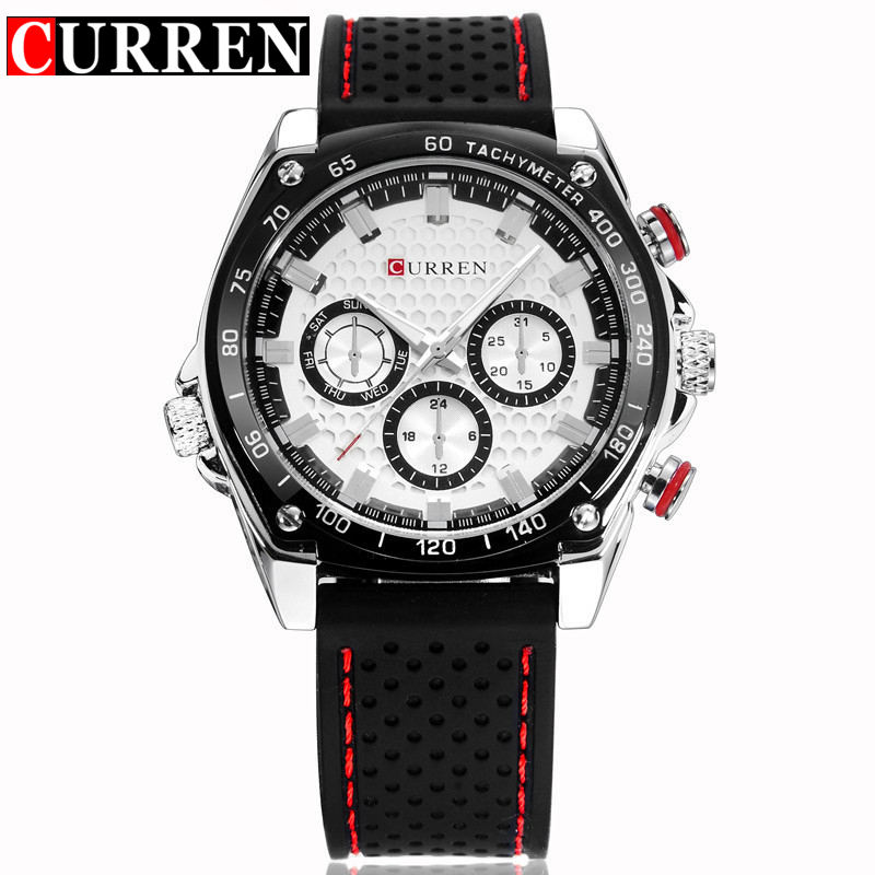CURREN Watch Men Casual Military Sport Clock Mens Watches Top Brand Luxury Black Silicone Analog Quartz Watch Relogios Masculino top brand sport men wristwatch male geneva watch luxury silicone watchband military watches mens quartz watch hours clock montre