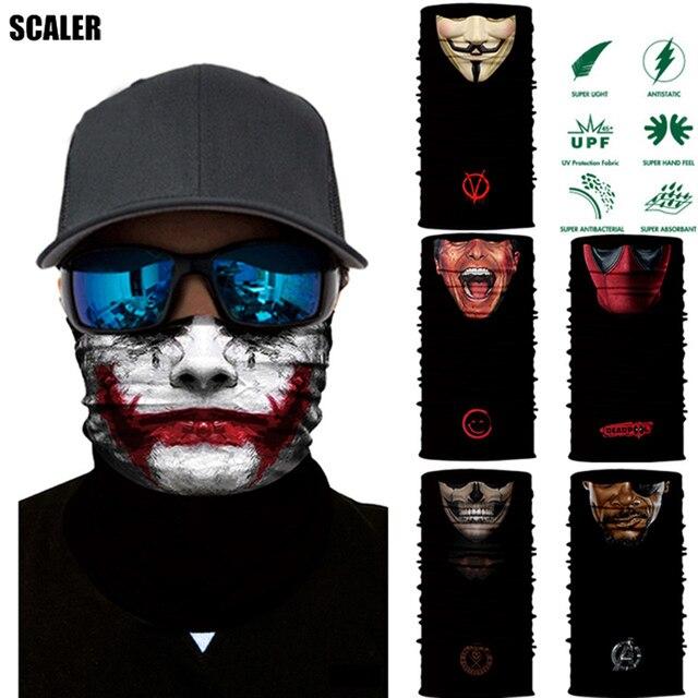 100 шт./лот 3D Велоспорт Магия Балаклава человеческое лицо череп Jokers животного бесшовные шарфы езда маска велосипед бандана Спорт повязка