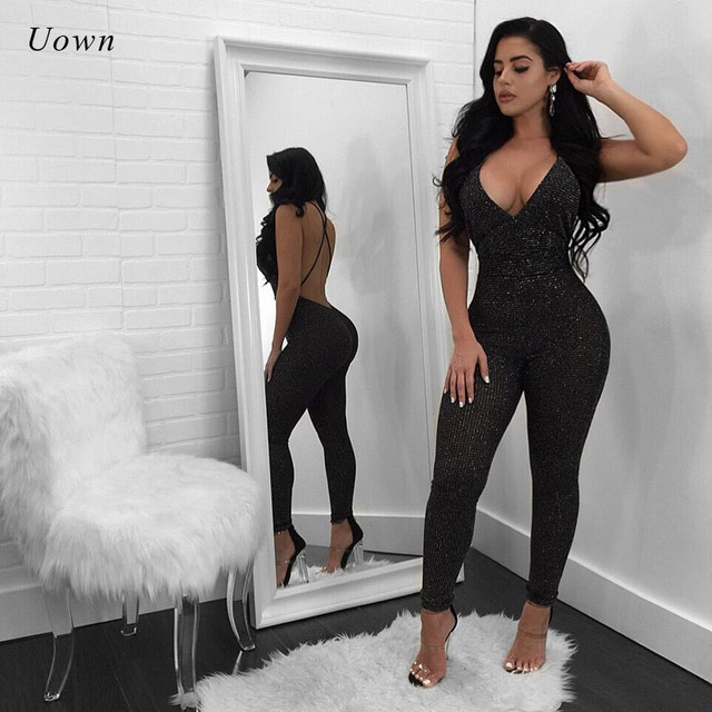 26ce5ff3d3a3 Backless Sexy Jumpsuits for Women 2018 Fashion Glitter Clubwear Night Out  Party Bodycon Jumpsuit Long Rompers