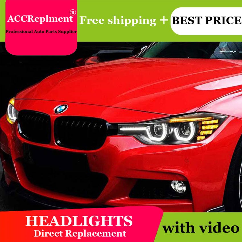 car styling For <font><b>BMW</b></font> <font><b>F30</b></font> <font><b>headlights</b></font> U angel eyes 2013-2015 For <font><b>BMW</b></font> <font><b>F30</b></font> <font><b>LED</b></font> light bar Q5 bi xenon lens <font><b>LED</b></font> Bulb projector image