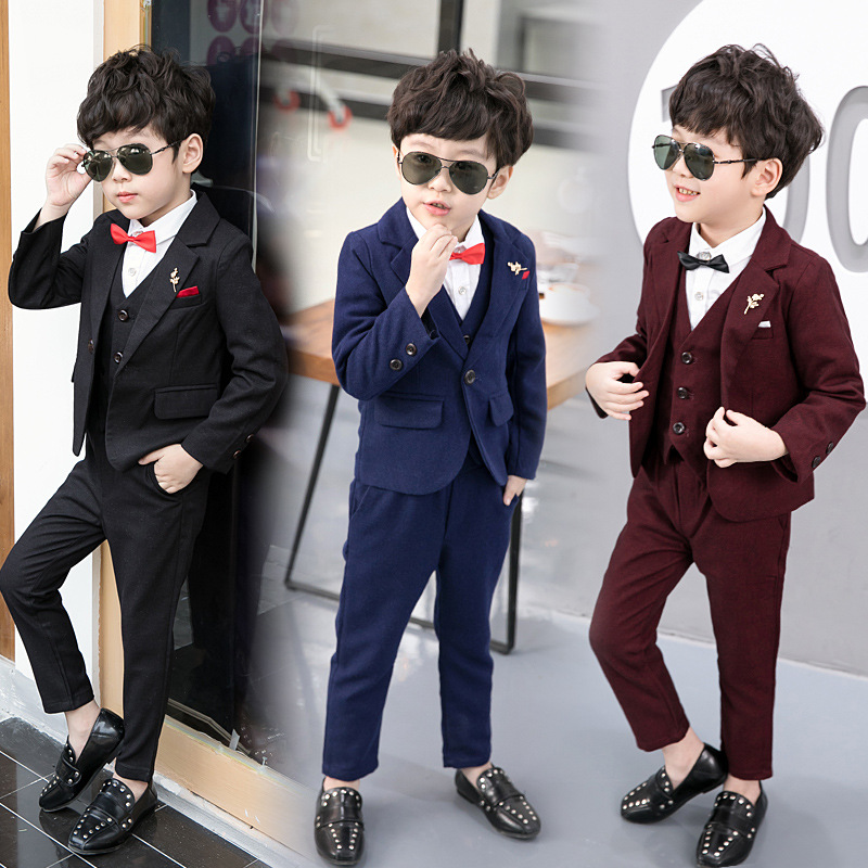 Fashion kids boy wedding gentleman sets coat+pants+vest 3pcs baby boys party clothes set children boys formal clothing set