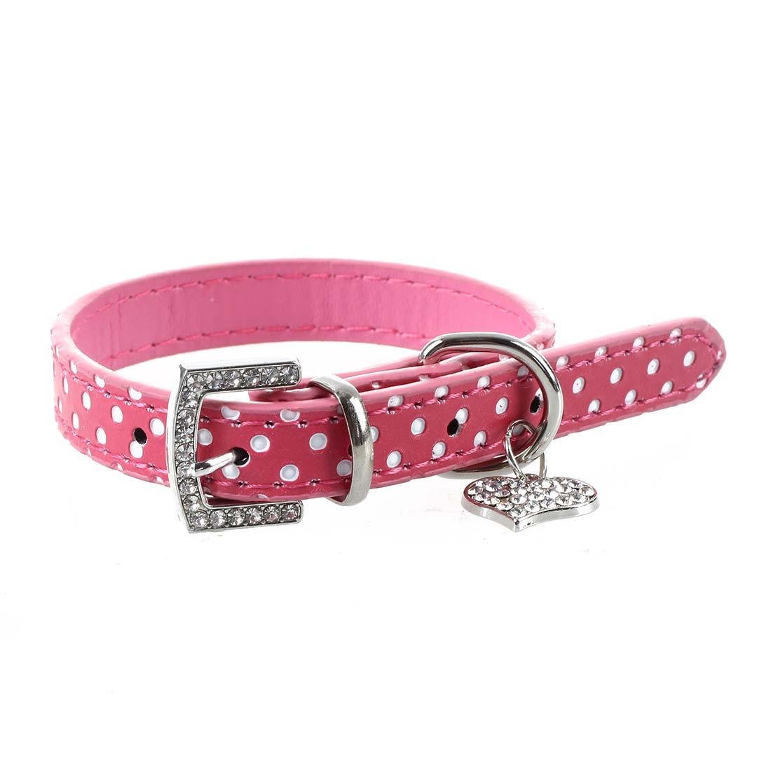 Hot Sale Rhinestone PU Leather Adjustable collar for Dog Cat Pet Pink XS