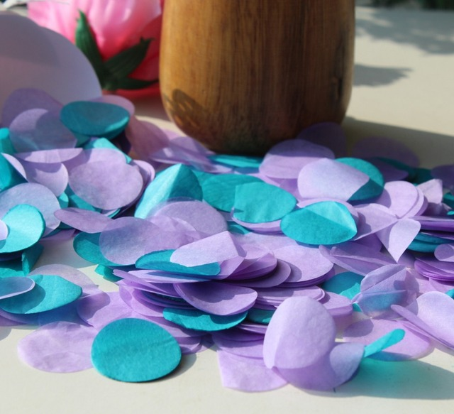 teal purple lavender lilac wedding party guests flower girl throwing ...