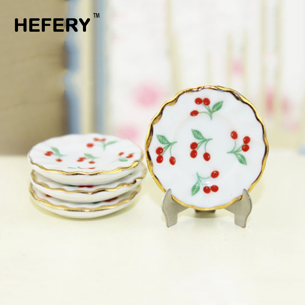 1Pcs 1/12 Dollhouse Miniature Accessories Mini Ceramic Plate with Bracket Simulation Furniture Model Toys for Doll House Decor