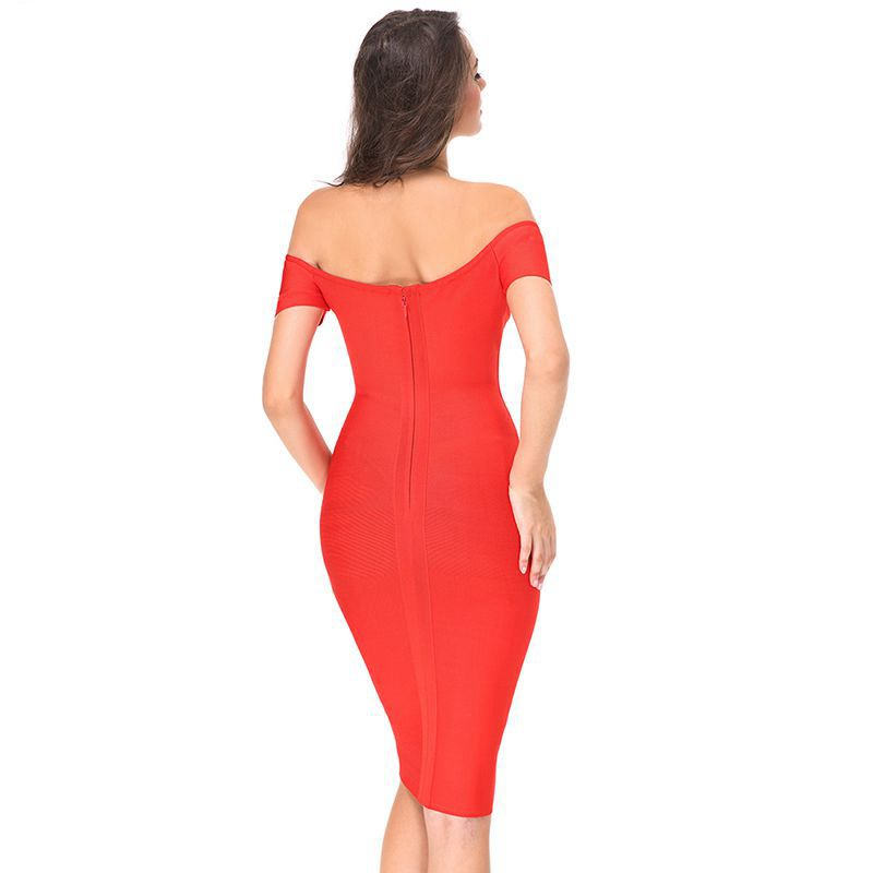 7904d57a6650 2017 summer dress Women Party Bodycon Bandage Dress short sleeve off  shoulder V neck midi red celebrity runway dress wholesale-in Dresses from  Women s ...