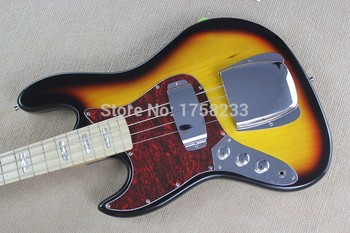 . Free shipping New banjo left-handed electric bass guitar JAZZ BASS sunset color electric guitar
