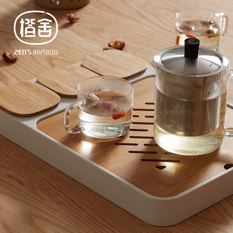 Бамбуковый поддон для чая ZEN'S, многофункциональный поддон для чая Kungfu, маленький чайный столик, сервировочный поддон с 3 мини-контейнеров и к...