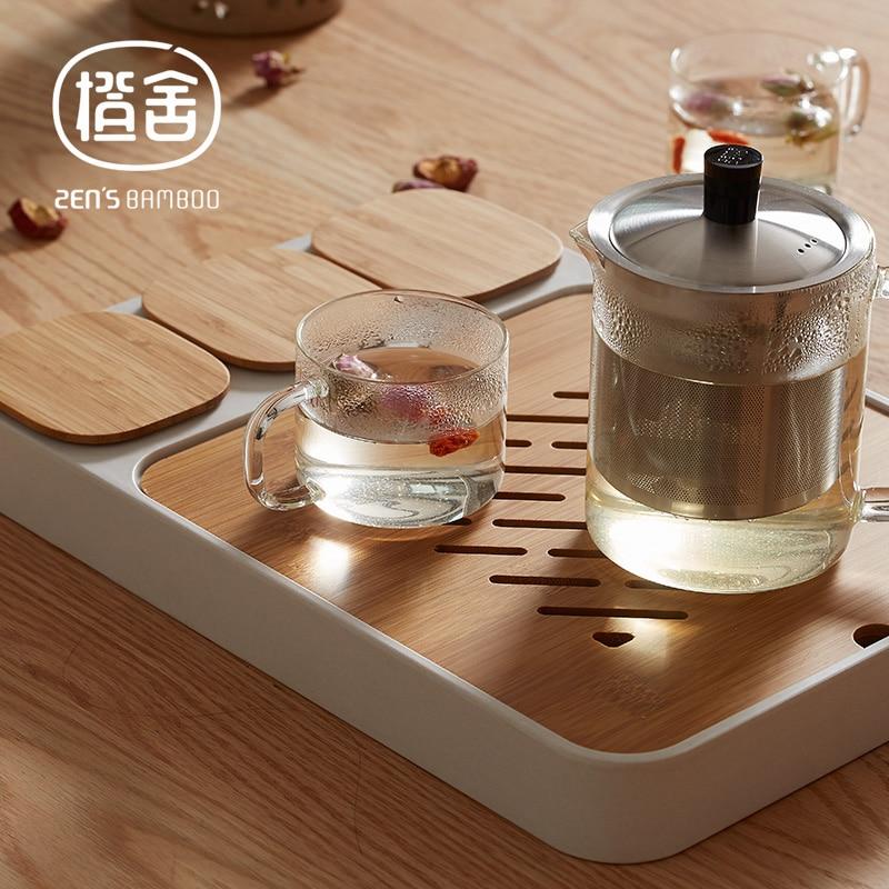 ZEN'S BAMBOO Bandeja de té Bandeja de té multiusos de Kungfu - Cocina, comedor y bar