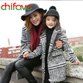 2017 New Designs Spring Autumn Mom Daughter Family Clothing Turn-down Collar Plaid Pattern Long Jacket Outerwear Coat 2 Colors