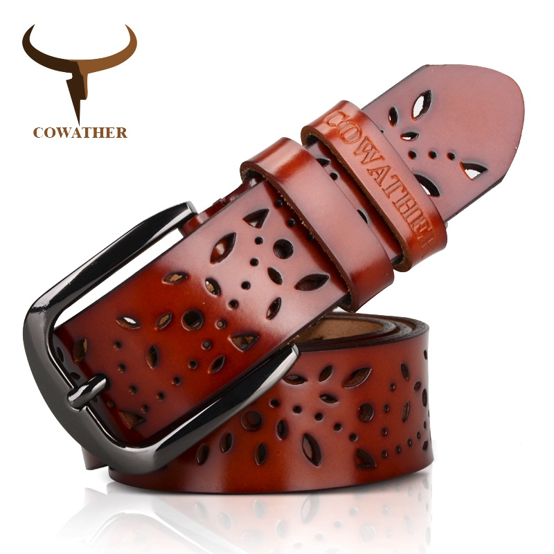 COWATHER New 2019 Genuine Leather Jeans Belts For Women Hollow Pressed Flower Luxury Strap Female Belt Gun Gray Buckle
