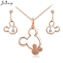 Jisensp Cartoon Hollow Mickey with Rhinestone Tiny Mouse Necklaces for Women Kids Jewelry Long Chain Necklace Birthday Gift(China)