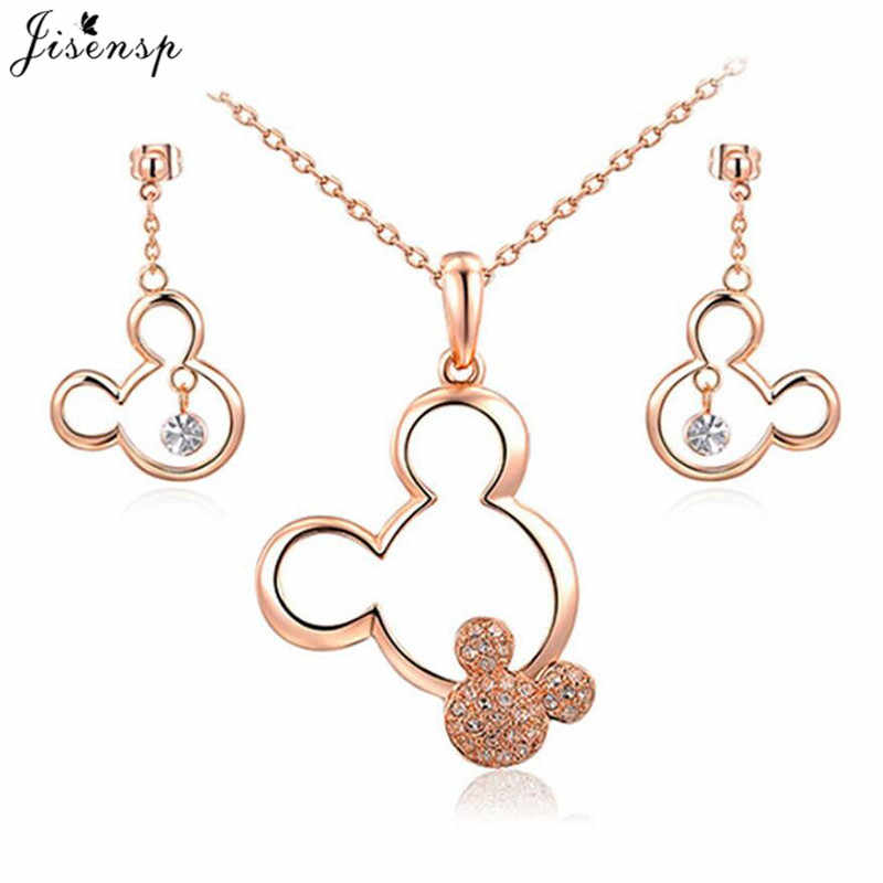 Jisensp Cartoon Hollow Mickey with Rhinestone Tiny Mouse Necklaces for Women Kids Jewelry Long Chain Necklace Birthday Gift