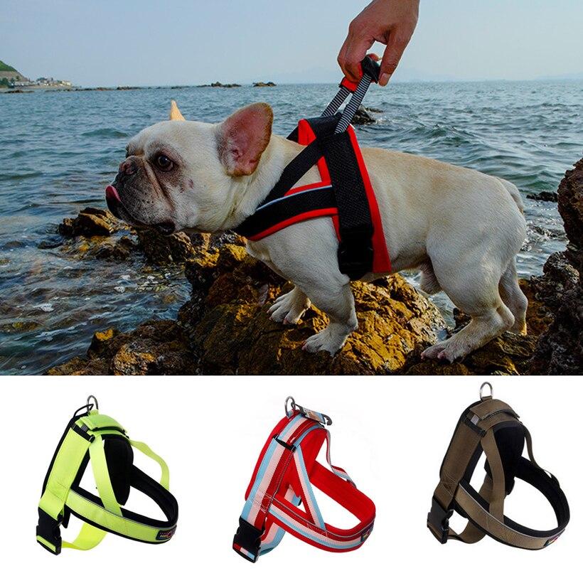 DogFad Medium Large Dog Harness Vest Pet Dog Training Vest Nylon Chest strap traction S M L XL size Four colors dog collar