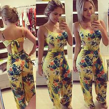 Women Clubwear Floral Playsuit Bodycon Party Sleeveless Jumpsuit&Romper Long Trousers Set