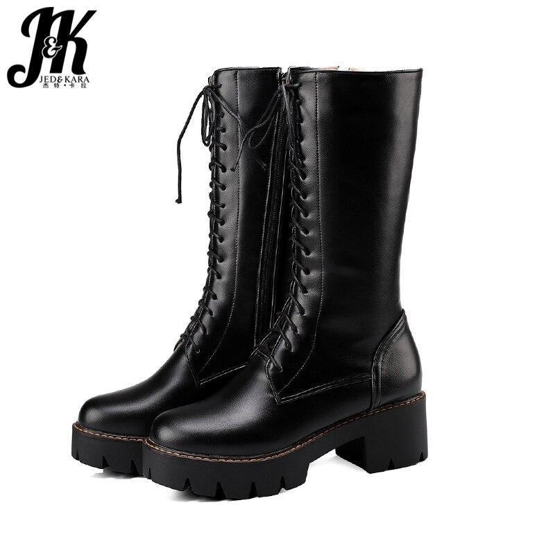 JK Thick High Heels Women Motorcycle Boots Cross Tied Pu Zip Round Toe Footwear Mid Calf Female Boot Platform Shoes Women Winter