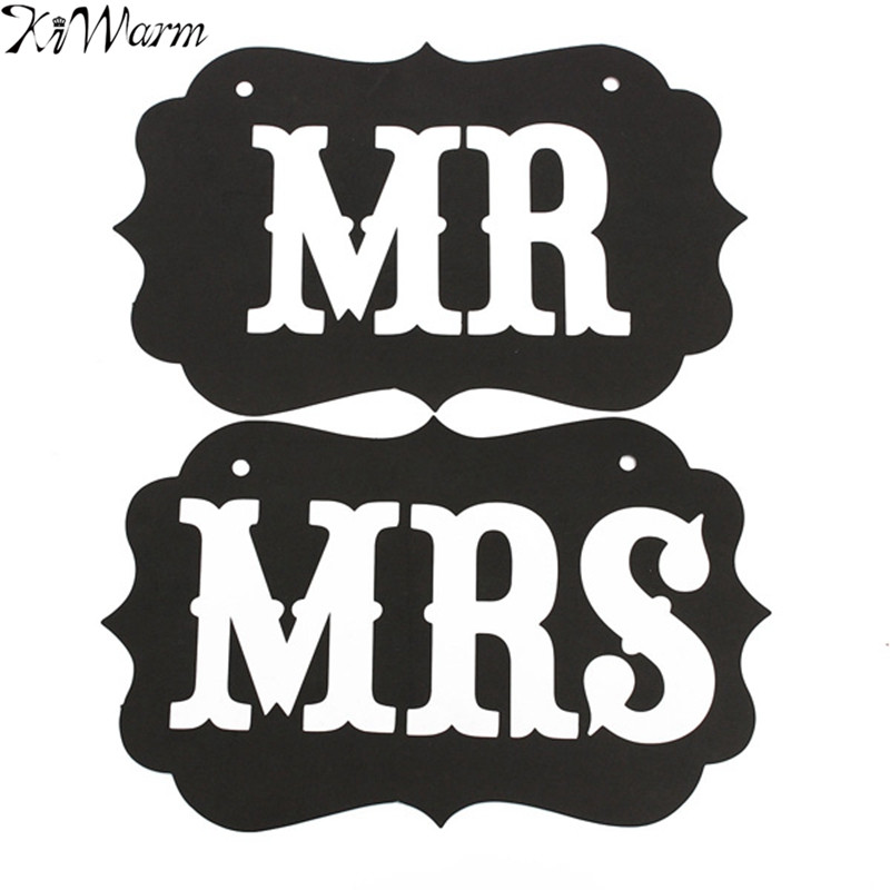 KiWarm A set of Romantic Couple Mr Mrs Wedding Party Photo Props Chair Signs Banner for Party Hanging Decorations Supply