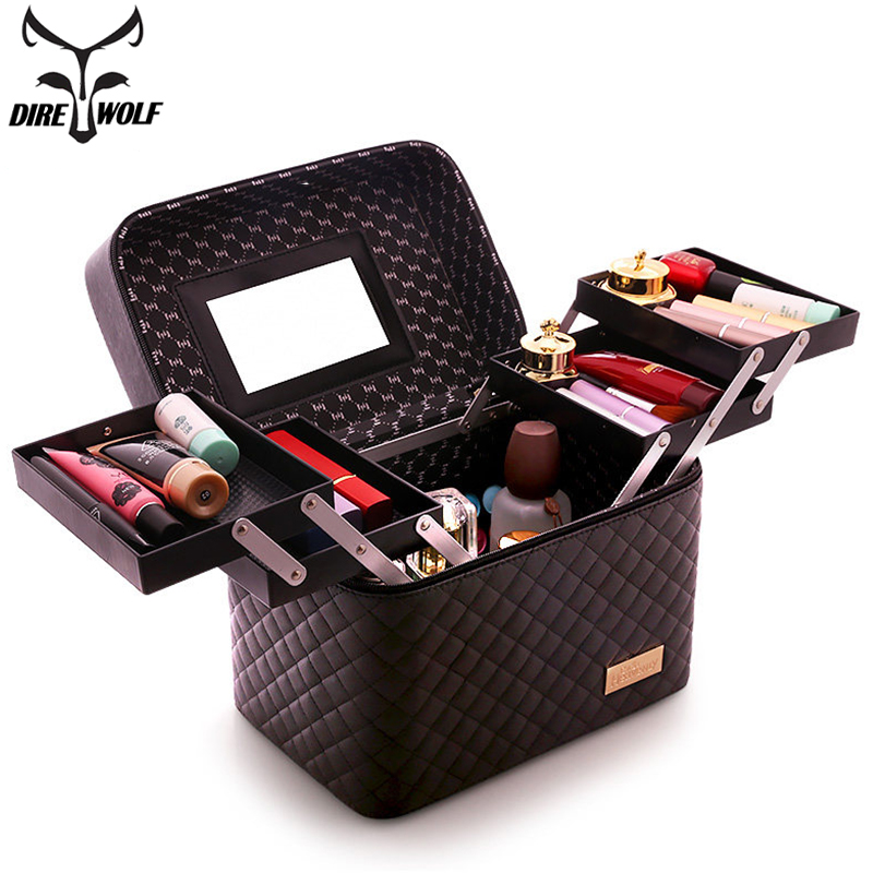 DIREWOLF Women Professional Cosmetic Bag Portable Makeup Organizer Large Capacity Multilayer Storage Box Suitcase For Manicure travel beauticians professional cosmetic makeup bag large capacity beauty organizer women portable makeup storage box neceser