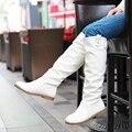 Tamaño grande 34-43 Mujeres de La Rodilla Botas Altas Planas de Los Talones de Punta Redonda primavera Otoño Al Aire Libre Zapatos de Invierno Corto de Piel Clásico Caballero Botas P940