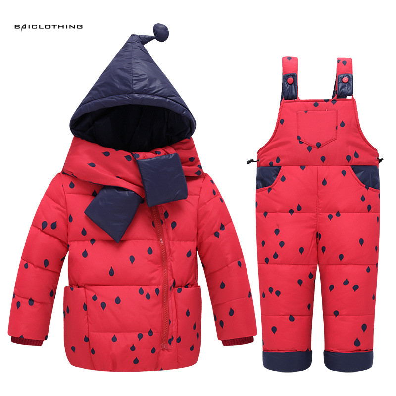 2017 Winter Children Down Jackets Clothing Set Russia Baby Girl Ski Suit Sets Raindrop Kids Boy's Outdoor Down Coats+trousers 30degrees winter baby clothing set russia baby girl ski suit sets boy s outdoor sport kids down coats jackets trousers fur