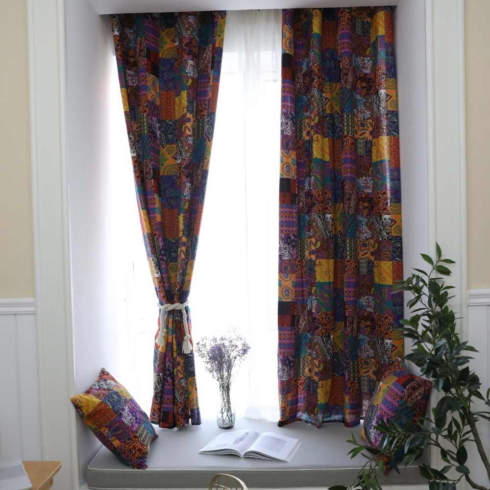 Bohemian retro ethnic style curtains half blackout for living room study bedroom bay windows custom Cotton linen