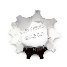 Wholesale 100pcs 9 Sizes V-Shape Metal Nail Template Edge Smile Cut Line Trimmer Easy French False Nails Form Manicure Tool DIY