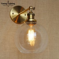 Loft Industrial bathroom lights bronze body wall lamp light sconce D20CM clear glass shade American style indoor home lighting