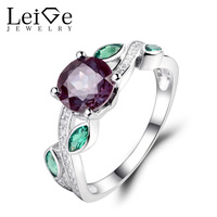 Leige Jewelry Lab Alexandrite Leaf Ring Sterling Silver 925 Fine Jewelry Round Cut Engagement Rings for Her Gemstone Jewelry
