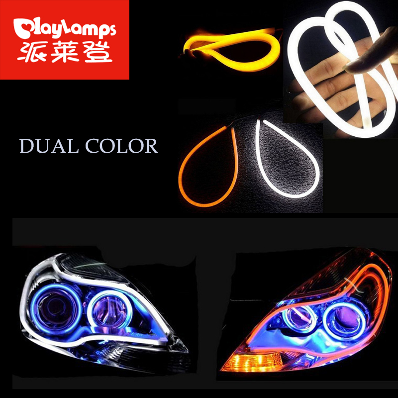 2x led tube light 60cm flex DRL led daytime running light For Audi-Style Dual Color Blue White Red led strip light waterproof 2x dual color 42smd 2835 white ice blue
