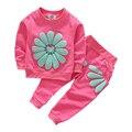 Niñas Juegos de Ropa de Verano 2017 Nuevos Niños Ropa de Las Muchachas de Girasol Imprimir Trajes t-shirt + pants 2 unids traje Ropa de niños Sets