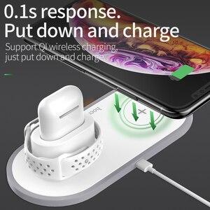 Image 5 - HOCO 3 in 1 Qi kablosuz şarj pedi iPhone 11 pro X XS Max XR Apple Watch için 4 3 2 Airpods Samsung için 10W hızlı şarj S10