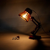 New Arrival Creative DIY Wooden Vintage Desk Lamp Table Lamp E27 Bulb 220V Bedroom Bar Table
