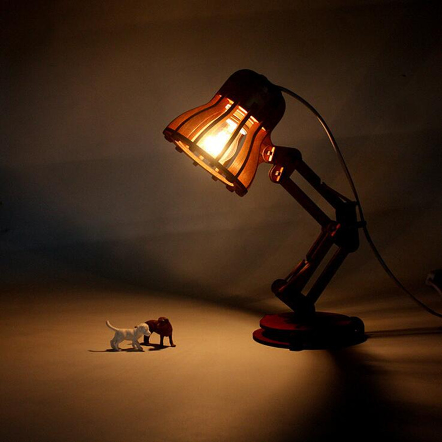 Lamps with night light - Aliexpress Com Buy New Arrival Wood Lamp Table Led Night Light Creative Diy Wooden Vintage Adjustable Desk Lamps E27 Bulb 220v Bedroom Bar Lighting From