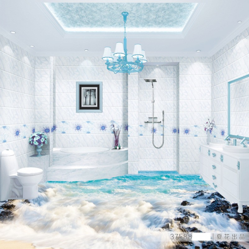 Free Shipping Beach Spray 3D floor non-slip thickened bedroom living room bathroom square lobby flooring wallpaper mural free shipping realistic large pond carp floor 3d wear non slip thickened kitchen living room bathroom flooring wallpaper mural