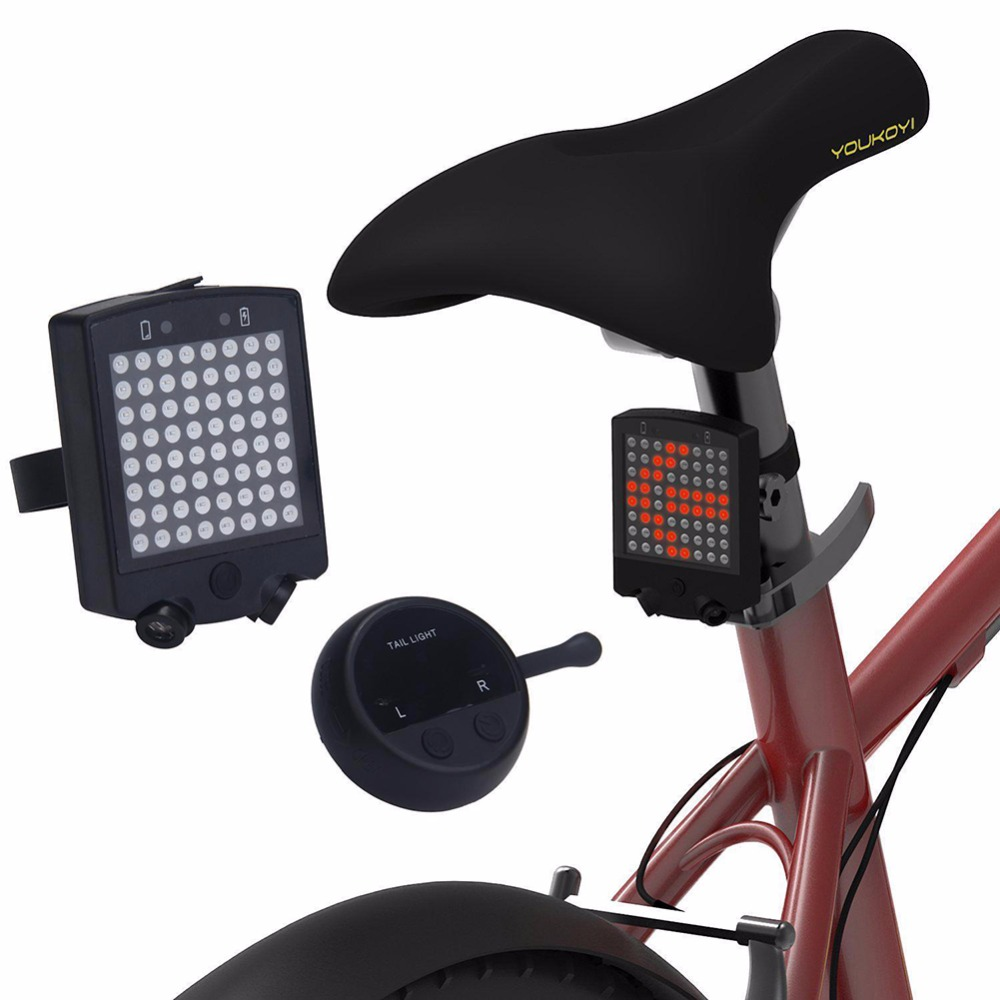 2017 64 LED Laser Bicycle Rear Tail Light USB Rechargeable With Wireless Remote Bike Turn Signals Safety Warning Light meilan x5 wireless bike bicycle rear light laser tail lamp smart usb rechargeable cycling accessories remote turn led