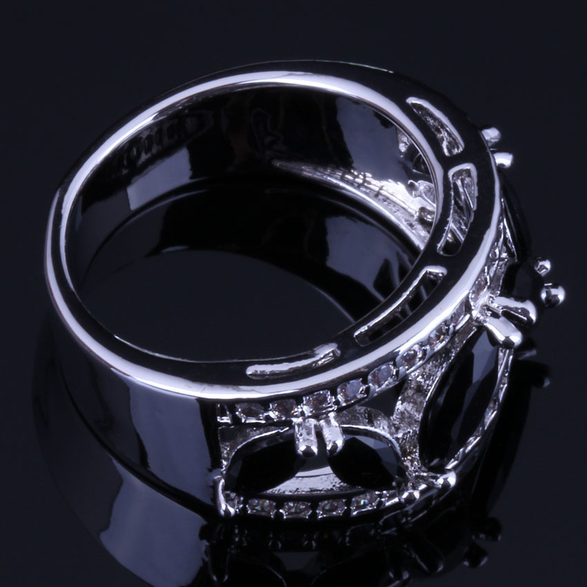 Fetching Black Cubic Zirconia White CZ 925 Sterling Silver Ring For Women V0602 in Rings from Jewelry Accessories