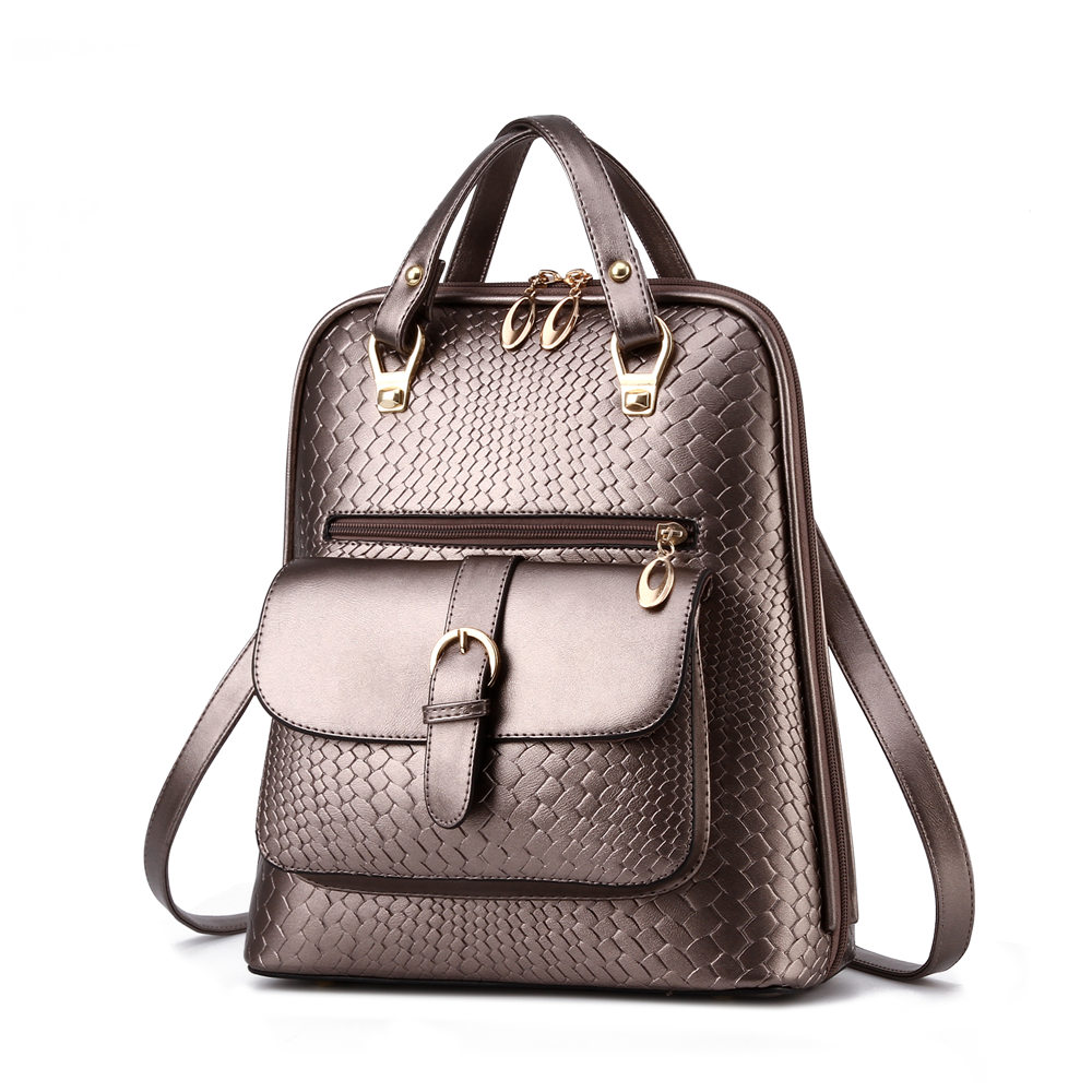 ФОТО Luxury Minimalist WomenPU Leather Backpack Fashion Simple Crocodile Grain Lady Durable Daypack Black Travel Shoulder Bag