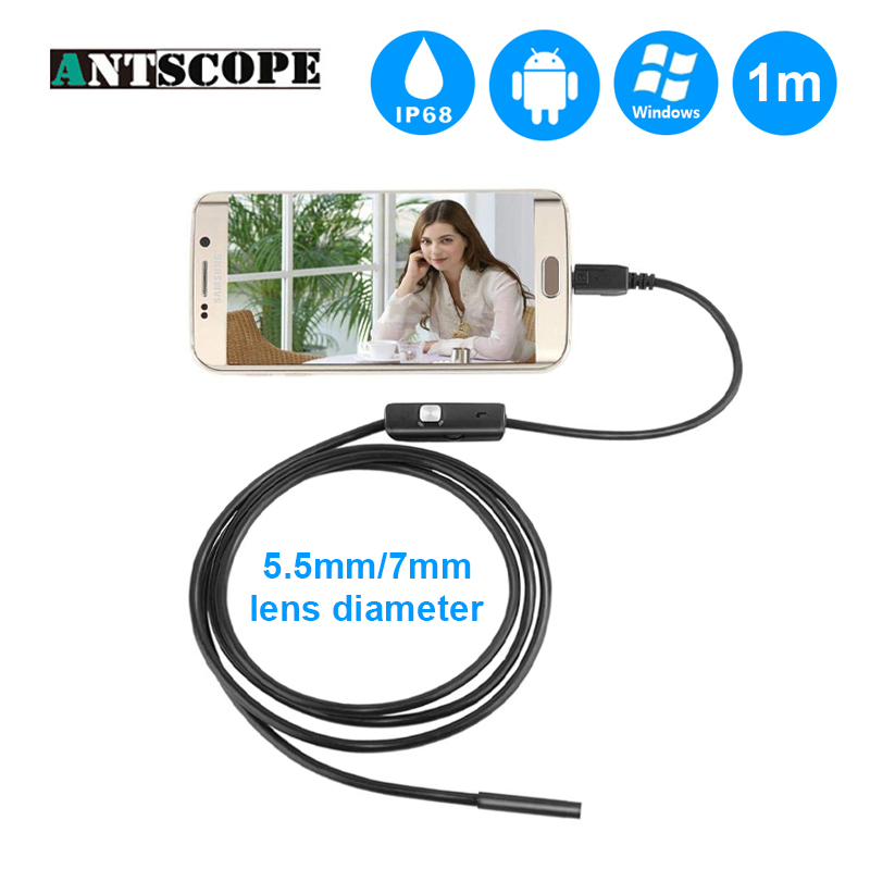 Antscope 5.5mm7mm 1m Micro USB Android Endoscope 7mm 2m USB Endoscope Camera for PC LED Borescope Camera Soft Cable Borescope 19 12mm extra long head micro usb cable extended connector 1m cabel for homtom zoji z8 z7 nomu s10 pro s20 s30 mini guophone v19